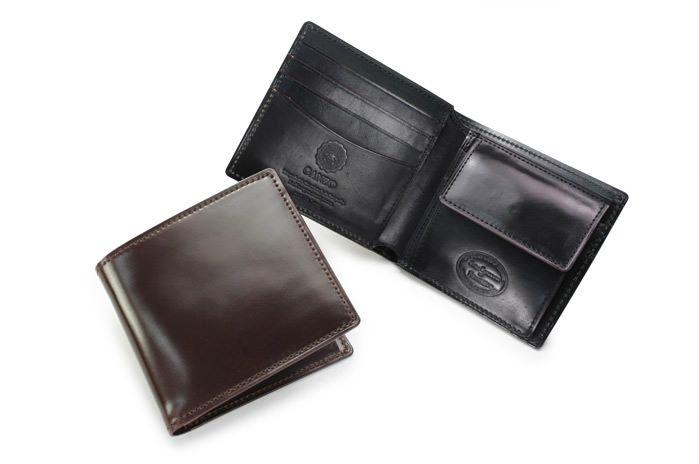 シェルコードバン小銭入れ付き二つ折り財布