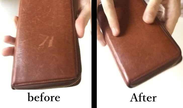 革財布の傷 直る前と直った後
